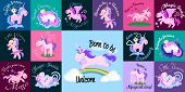 cute unicorn isolated set, magic pegasus flying with wing and horn on rainbow, fantasy horse vector illustration, myth creature dreaming on white background, greeting card template. poster