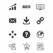 Internet, seo icons. Bandwidth speed, download arrow and mail signs. Hyperlink, monitoring symbols. Customer service, Shopping cart and Report line signs. Online shopping and Statistics. Vector poster