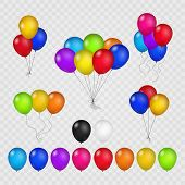 Colored balloons isolated on transparent background. Flying helium brightly air balloon set for birthday party vector illustration poster