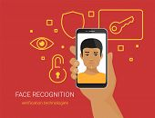 Face recognition and mobile identification. Flat vector illustration of young african man unlocking his smartphone by face recognition technology. Human hand holds mobil phone with male face on screen poster