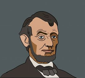 Us President Abraham abe Lincoln face portrait on gray background.