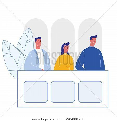 Jury Trial, Courtroom Cartoon Vector Illustration. Prosecutor, Attestor At Bench In Courthouse. Law