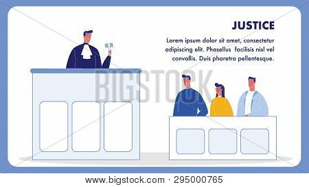 Justice Vector Web Banner Template With Text Space. Judge In Gown With Gavel. Jury Trial, Courtroom.