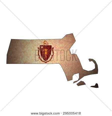 Massachusetts State With Flag