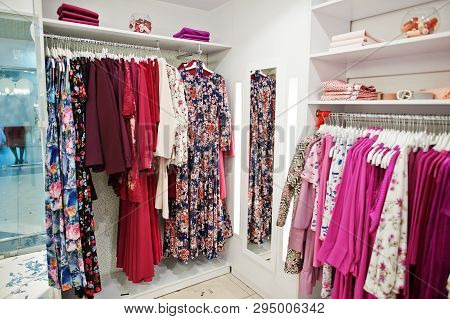 Female Pink Colorful Clothing Set Of On The Racks And Shelves In Clothing Store Brand New Modern Bou