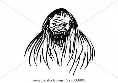 Muzzle ferocious Bigfoot. Legendary Sasquach drawn on white. poster