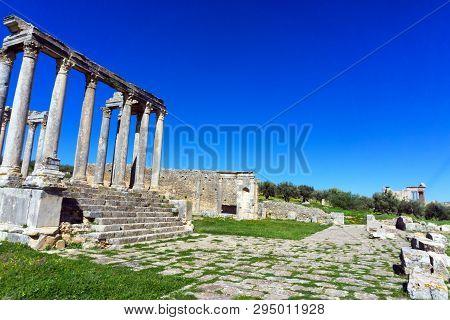 Landscape Of Ruins Of The Temple Of Juno In Dougga, Tunisia