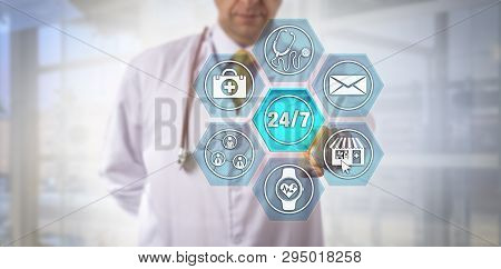 Unrecognizable internet-savvy physician touching virtual 24/7 button on remote care interface. Healthcare and technology concept for patient-centric telemedicine, all day all night health e-service. poster