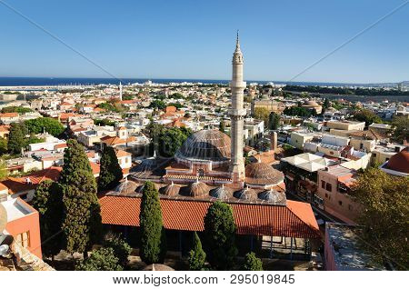 Suleiman Mosque In The Old Town Of Rhodes Is A Historical Monument Of The Ottoman Period.