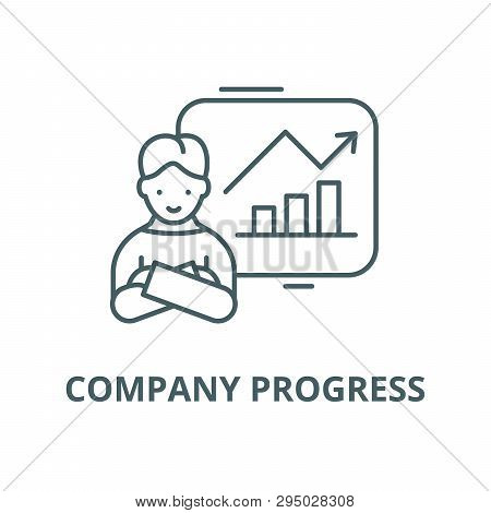 Company Progress Line Icon, Vector. Company Progress Outline Sign, Concept Symbol, Flat Illustration