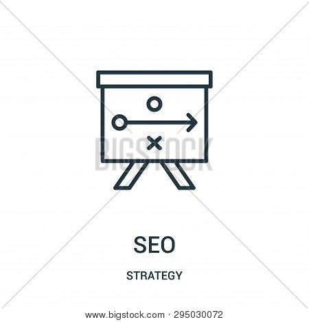 Seo Icon Isolated On White Background From Strategy Collection. Seo Icon Trendy And Modern Seo Symbo