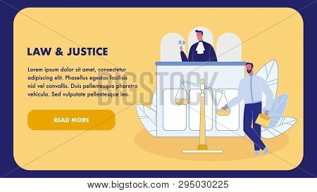 Law And Justice Flat Vector Landing Page Template. Judge In Gown With Gavel. Courtroom Web Banner. A