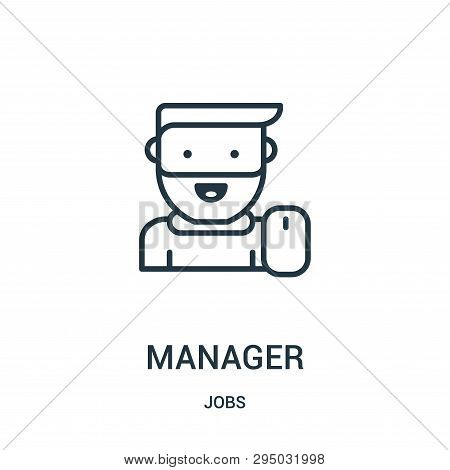 Manager Icon Isolated On White Background From Jobs Collection. Manager Icon Trendy And Modern Manag