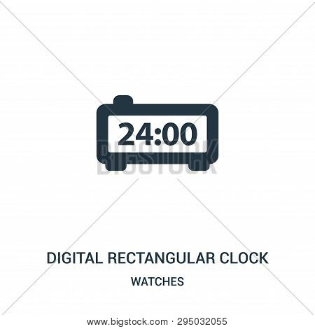 Digital Rectangular Clock Icon Isolated On White Background From Watches Collection. Digital Rectang