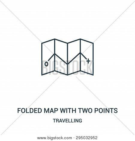Folded Map With Two Points Icon Isolated On White Background From Travelling Collection. Folded Map