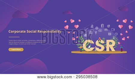 Csr Corporate Social Responsibility Concept Big Text With People For Website Template Banner Design