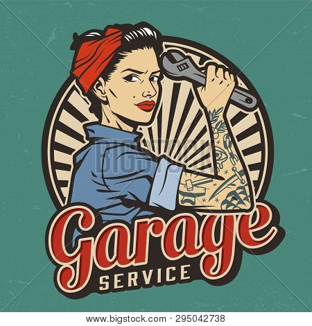 Vintage Garage Service Emblem With Pin Up Pretty Girl With In Bandana And Tattoo On Arm Holding Wren