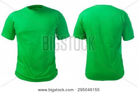 Blank Green Shirt Mock Up Template, Front And Back View, Isolated On White, Plain T-shirt Mockup. Te