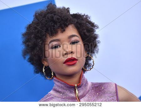 LOS ANGELES - APR 08:  Storm Reid arrives for the 'Little' Premiere on April 08, 2019 in Westwood, CA