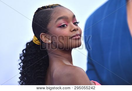 LOS ANGELES - APR 08:  Marsai Martin arrives for the 'Little' Premiere on April 08, 2019 in Westwood, CA