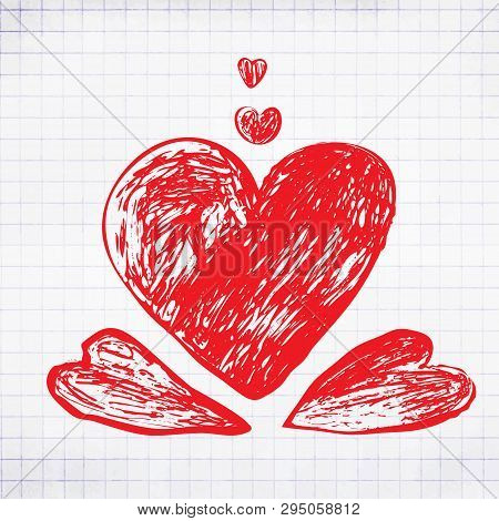 Hand Drawing Hearts Or Scetched Doodle Love Symbol
