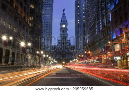 Philadelphia, Pennsylvania, United States - November 27, 2018: Long Exposure Of South Broad Street (