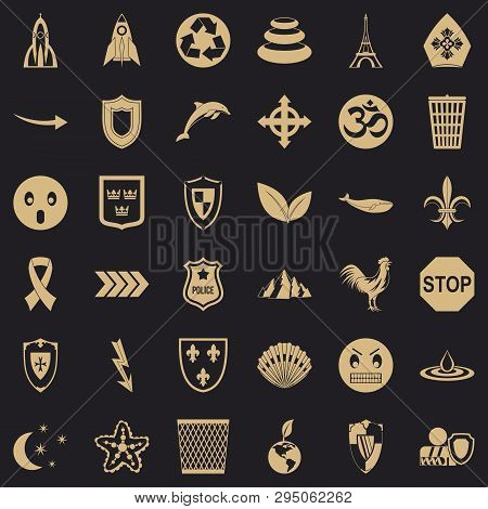 Protection Emblem Icons Set. Simple Style Of 36 Protection Emblem Vector Icons For Web For Any Desig