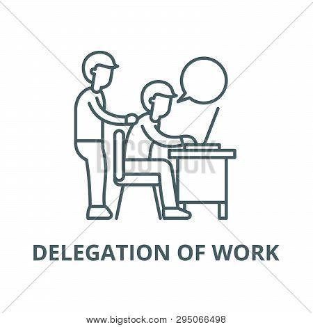 Delegation Of Work Line Icon, Vector. Delegation Of Work Outline Sign, Concept Symbol, Flat Illustra