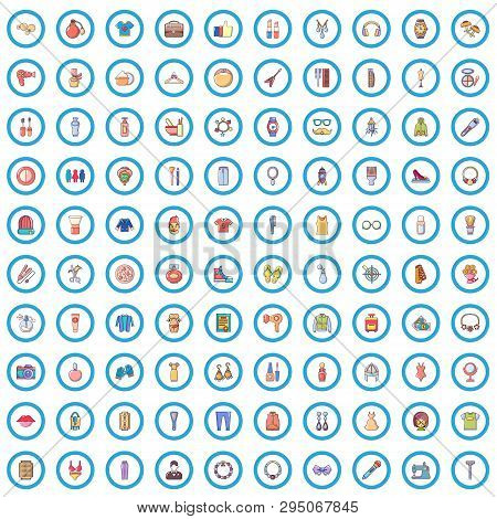 100 Stylist Icons Set. Cartoon Illustration Of 100 Stylist Vector Icons Isolated On White Background