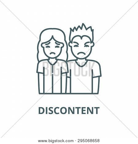 Discontent Line Icon, Vector. Discontent Outline Sign, Concept Symbol, Flat Illustration