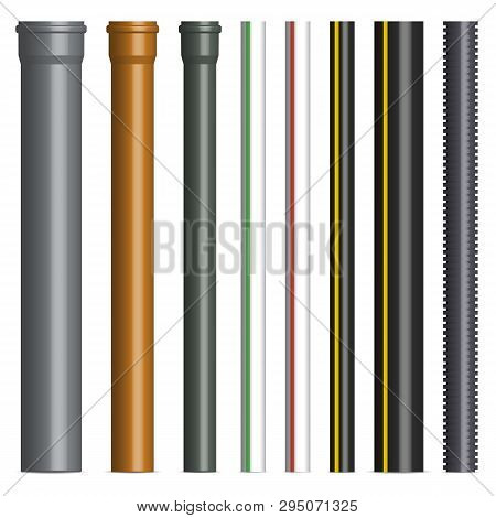 Set Of Various Plastic Pipes For Sewage, Gas And Water Pipe Isolated On White Background. Front View