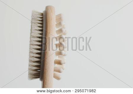 Multipurpose Wooden Brush For Dry Anticellulite Massage. Cellulite Treatment Tool