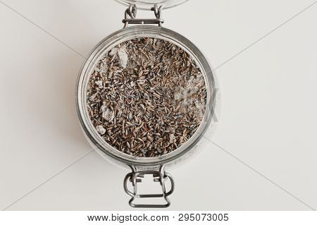 Body Scrub With Lavender And Salt, Top View. Body Peeling And Exfoliating