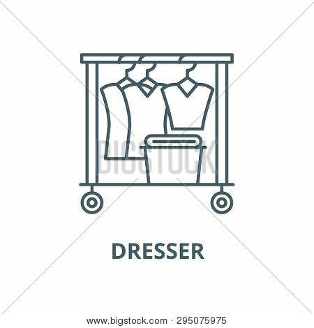 Dresser Line Icon, Vector. Dresser Outline Sign, Concept Symbol, Flat Illustration