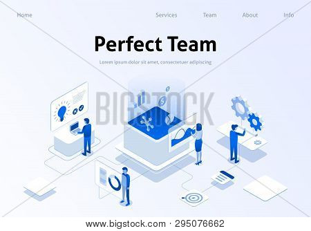 Perfect Team Service Metaphor Isometric Banner. Employee Searching, Brainstorming, Calculating Benef