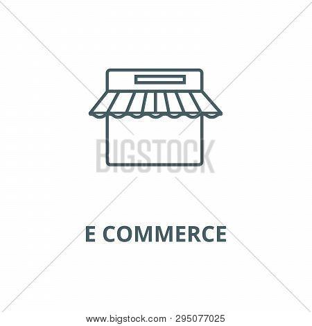 E Commerce, Internet Shop Line Icon, Vector. E Commerce, Internet Shop Outline Sign, Concept Symbol,