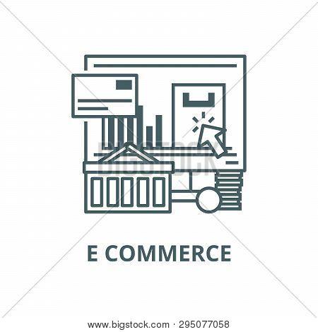 E Commerce Line Icon, Vector. E Commerce Outline Sign, Concept Symbol, Flat Illustration