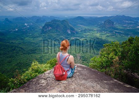 Happy Hiker With Her Arms Outstretched, Freedom And Happiness, Achievement In Mountains. Thailand, V