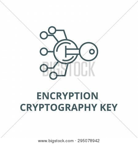 Encryption, Cryptography Key Line Icon, Vector. Encryption, Cryptography Key Outline Sign, Concept S