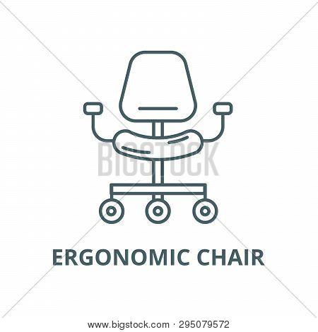 Ergonomic Chair Line Icon, Vector. Ergonomic Chair Outline Sign, Concept Symbol, Flat Illustration