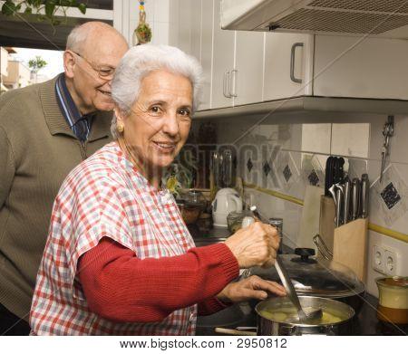 Senior Couple At Kitchen