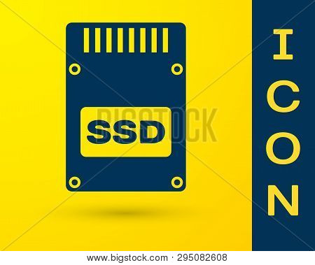 Blue SSD card icon isolated on yellow background. Solid state drive sign. Storage disk symbol. Vector Illustration poster