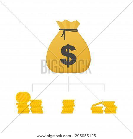 Money Diversification Revenue, Financial Diversification Portfolio. Financial Success And Balance. B