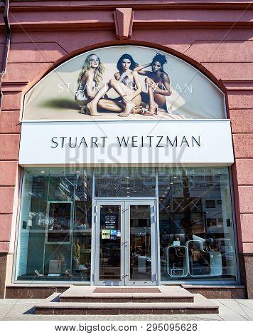 Minsk, Belarus - April 6, 2019: Stuart Weitzman Boutique Shop Facade With Signboard