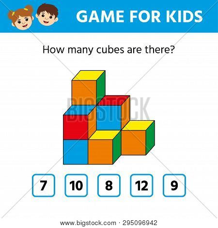 poster of Education logic game for preschool kids. Kids activity sheet. Count the number of cubes. Children funny riddle entertainment. Vector illustration