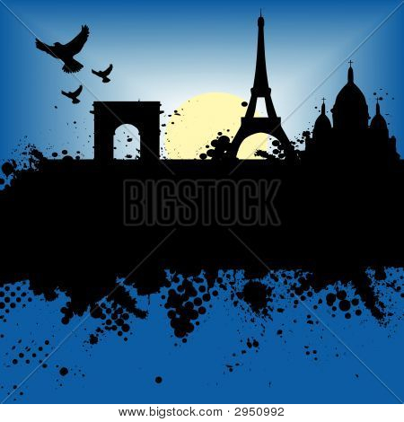 Vector - Paris France Grunge city at night with the Eiffel tower and moonlight. poster