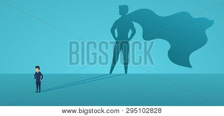 Business Man With Big Shadow Superhero. Super Manager Leader In Business. Concept Of Success, Qualit