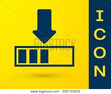 Blue Loading Icon Isolated On Yellow Background. Download In Progress. Progress Bar Icon. Vector Ill