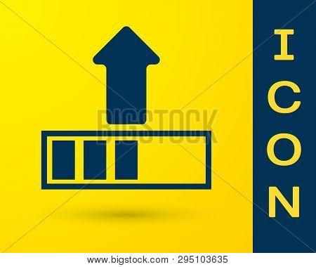 Blue Loading Icon Isolated On Yellow Background. Upload In Progress. Progress Bar Icon. Vector Illus