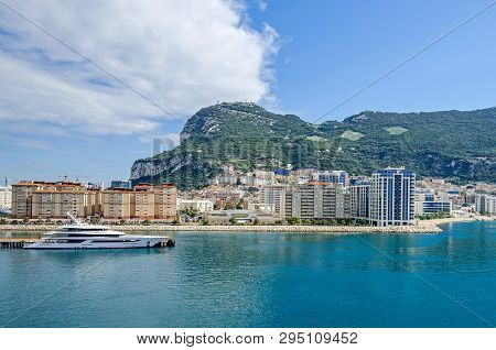 Gibraltar, British Overseas Territory -  November 8, 2018: Harbor And The Bay Of Gibraltar Dominated